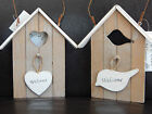 WOODEN BEACH HUT HOME WELCOME HEART BIRD HOUSE HANGING SIGN WALL PLAQUE NEW