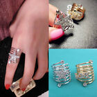 Fashion Womens Luxurious Rhinestone Pentagram LOVE Spiral Spring Finger Ring New
