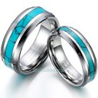 8mm/6mm Tungsten Rings w/ Synthetic Turquoise Inlaid Men's Women's Wedding Band image