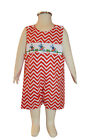 Dana Kids Easter Orange Chevron Bunny Carrot Smocked Shortall Baby Boys 6M-3T