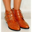 LADIES TAN POINTED GOLD STUD STUDDED COWBOY ANKLE BOOTS SIDE ZIP SIZES 3-8