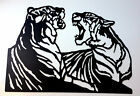 Metal Wall Art Silhouette Sculpture Indoor Outdoor Decor-Tigers