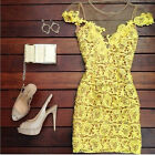 Sexy Womens Bodycon Lace Floral Casual Evening Party Cocktail Short Mini Dress