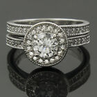 2.85 Ct Sim Diamond Solitaire Halo Sterling Silver Wedding Engagement Ring Set