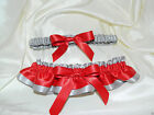 Silver and Red Garter Set Wedding Prom INCLUDES Tossing Garter & Charm