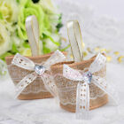 50PCS Bowknot Burlap Favor Boxes Wedding Party Birthday Gift Candy Box Linen