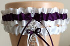 Sexy Plum Purple and White Organza Garter Set INCLUDES Tossing Garter & Charm