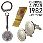 Lucky Penny and Lucky Star 1P PENCE KEY CHAIN / RING CHOOSE YOUR YEAR