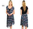 D55 New Womens Blue Mix Evening Work Office Party Day Chiffon Stretch Plus Dress