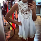 New Fashion Women Summer White Sexy Sleeveless Lace Pierced Mini Skirt Dress