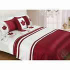 Floral Embroidered 5pc Bedding Set - Ivory & Red Duvet Cover Bed in a Bag Set