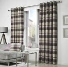 Bell Ring Top Eyelet Plum Purple Cream Woven Tartan Check Lined Eyelet Curtains