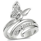 Butterfly Ring Bypass Clear Crystal Silver Rhodium PL  Size 5-10