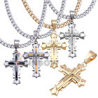 "P03 24""men stainless steel Gold Silver Black cross pendant cuban chain necklace"