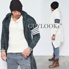 Stripe Contrast Arm Mens Long Wool Sweater Hooded Cardigan Knit Jacket Guylook