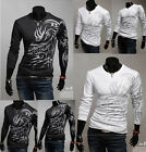 NEW Men's Long Sleeve Novelty Dragon Print O Neck Shirt Camisa Masculina T Shirt
