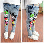 New Mickey Mouse Girls Toddler Micky Denim Skinny Bottom Pants Jeans 3T to 8T