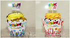 12pcs x Happy Birthday Party Cupcake  Muffin Wrappers Cases Holders and Toppers