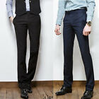 Men's Suit Pants Slim fit Casual Formal Straight Dress Pants Smooth Trousers W01