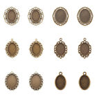 10pcs Oval Alloy Pendant Cabochon Setting Antique Bronze Glass Bead DIY Tray Set