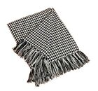 NWT Houndstooth Fringe Throw Blanket, 2 Colors