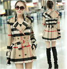 Hot! Women's Lady Double Breasted Plaid Check Wool blend Long Trench Coat Jacket