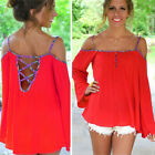 NEW Sexy Summer Women's Loose Off Shoulder Hollowed Back Tops T-Shirt Plus Size