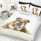 British Bulldog Doghouse Animal White Brown Duvet Cover Quilt Bedding Set