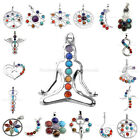Fashion 7 Stone Chakra Healing Point Reiki Bead Gemstone Pendant fit Necklace