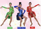 New Girls' Professional Blue Green Red Sewing Sequins Latin Dance Dress Costume