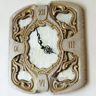 Wall clock white large, natural wooden carving with textured glass, modern style