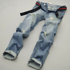 Mens Jeans Trousers Skinny Straight Casual Jean Rock Denim Pants Leisure All Sz