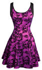 Jawbreaker Cyanide Dress Purple Skulls Skater Rock Punk Fit & Flare Lotita