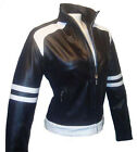 Women Biker Motorcycle Leather Jacket Black White Sz XS-3XL or Custom Made