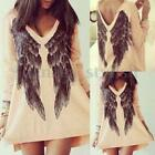 Womens Both 2 Side Angel Wings Printed Loose Mini Dress Baggy Long Top  Blouse