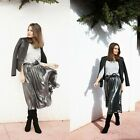 ZARA NEW COLLECTION 2014 SOLD OUT. GREY METALLIC MIDI SKIRT. SIZE M. BLOGGERS.