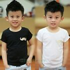 Summer Kids Toddlers Boys Mustache Solid Short Sleeve 100% Cotton Tops T-Shirt