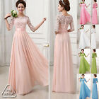 2015 Women Formal Lace Prom Ball Wedding Long Maxi Dress Bridesmaid Evening Gown