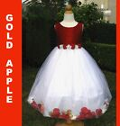 Gilrs Easter, Recital, Wedding, Party Silk Petal  Dress, Red/White Sz: 2,4,6,8,