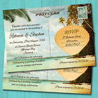 Personalised Beach Wedding Day Invitations & Envelopes *Tropical Postcard
