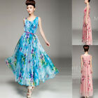 Fashion Summer Women Floral Chiffon Dress Summer Beach Evening Party Maxi Dress