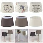 Lampenschirm Stoff Textil Shabby Chic Vintage Lampshade UNI OVAL