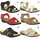 LADIES WOMENS COMFORT WIDE FIT CASUAL WALKING SUMMER SANDALS LOW WEDGE SIZE