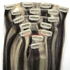 """New 15""""18""""20""""22""""7PCS Clip In Remy Human Hair Extension Straight #1B/613 Mixed"""