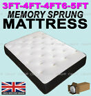 "BLACK 3FTSINGLE 4FT6 DOUBLE 5FT KING MEMORY FOAM MATTRESS 10"" ( USE ON ANY BED )"