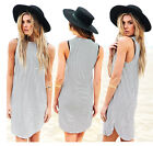 Sexy Women Summer Stripes Sleeveless Casual Evening Party Cocktail Short Dress