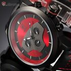 SHARK 6 Hands Military Army Leather Mens Sport Quartz Watch+Maple Metal Bookmark