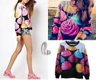 AU SELLER Women's 3D Printed Galaxy Sweatshirt Hoodies Pullover Jumper Top T144