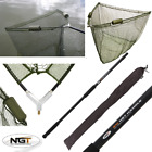 CARP FISHING 42 INCH GREEN NGT DUAL FLOAT LANDING NET, 2M HANDLE, STINK BAG
