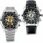 Skeleton Dial Men's Stainless Steel Automatic Mechanical Watch Wrist Watch Gift image